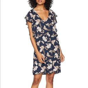 Splendid Ramo Floral Print Ruffle Dress Navy Small